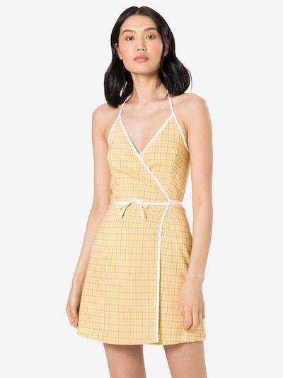 Fashion Union Kleid 'MALAGA' in gelb / dunkelgelb / weiß, Modelansicht
