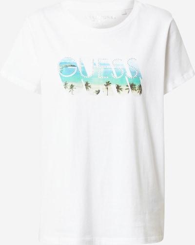 Tricou GUESS pe albastru aqua / azuriu / oliv / verde pin / alb, Vizualizare produs