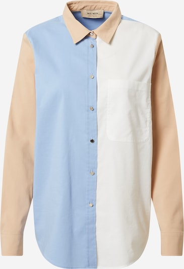 MOS MOSH Blouse 'Bella' in light beige / light blue / white: Frontal view