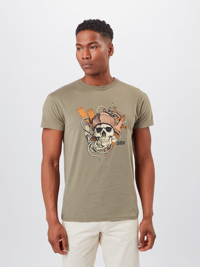 Derbe Shirt in Olive / Orange / Pink / White: Frontal view