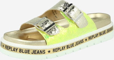 REPLAY Pantolette in gold / neongrün, Produktansicht