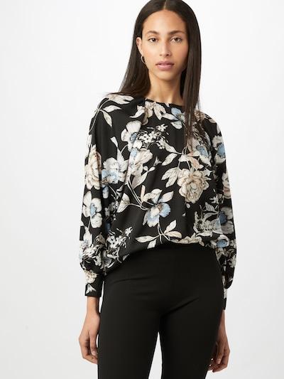 AX Paris Blus i camel / ljusblå / svart / naturvit, På modell