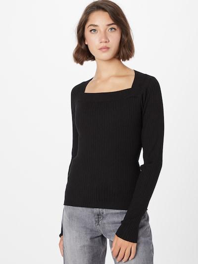 Soft Rebels Пуловер 'SRRine LS Squared Neck Knit' в черно: Изглед отпред