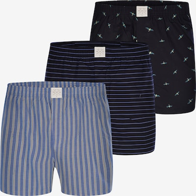 MG-1 Web-Boxershorts ' 3-Pack Boxershorts Classics ' in royalblau / hellblau / dunkelblau / grau / grün / schwarz, Produktansicht