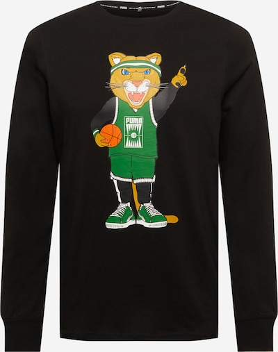 PUMA Functioneel shirt 'Dylan' in de kleur Lichtbruin / Groen / Sinaasappel / Zwart / Wit, Productweergave