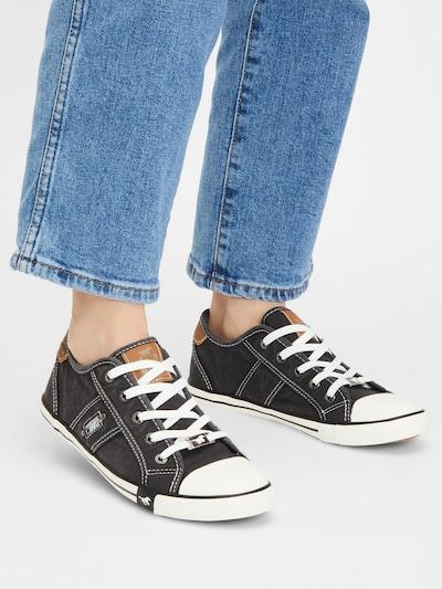 MUSTANG Låg sneaker i chamois / svartmelerad: Sedd framifrån