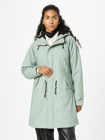 Derbe Between-Seasons Coat 'Travel Cozy' in Green