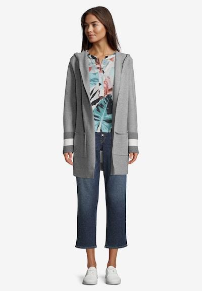 Betty & Co Strick-Cardigan mit Kapuze in creme / grau, Modelansicht