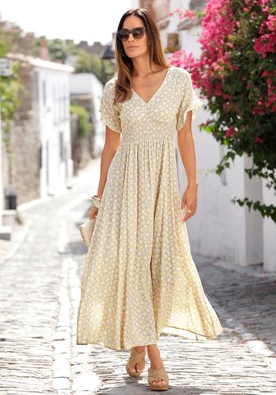 LASCANA Kleid in hellbeige / gelb / weiß, Modelansicht