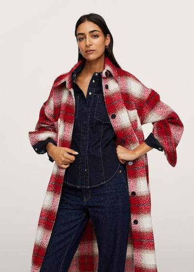 MANGO Between-Seasons Coat 'Zuri' in Red / Black / White, View model