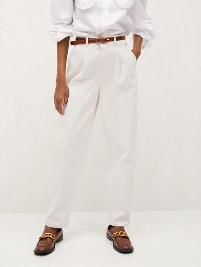 MANGO Bandplooi jeans 'Corinna' in de kleur White denim, Modelweergave