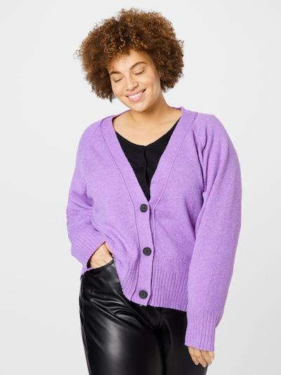 Noisy May Curve Knit Cardigan 'IAN' in Purple, View model