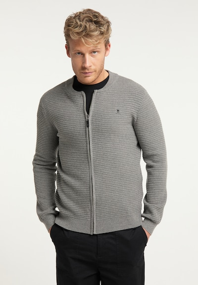 TUFFSKULL Knit Cardigan in Grey: Frontal view