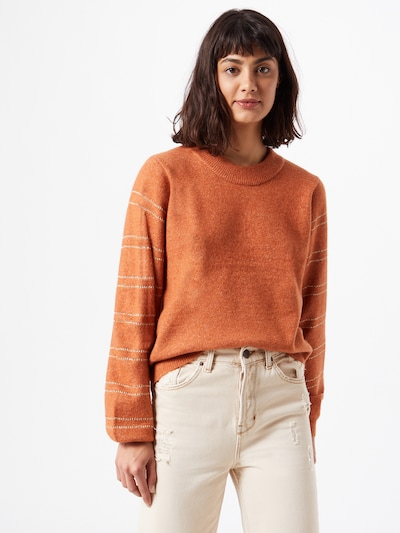 PIECES Pullover in dunkelorange / silber: Frontalansicht