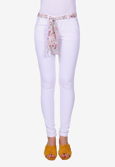 Le Temps Des Cerises Stoffhose LIDY6 mit modischem Gürtelband in weiß, Modelansicht