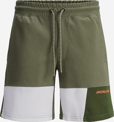 JACK & JONES Hose in oliv / dunkelgrün / koralle / weiß, Produktansicht