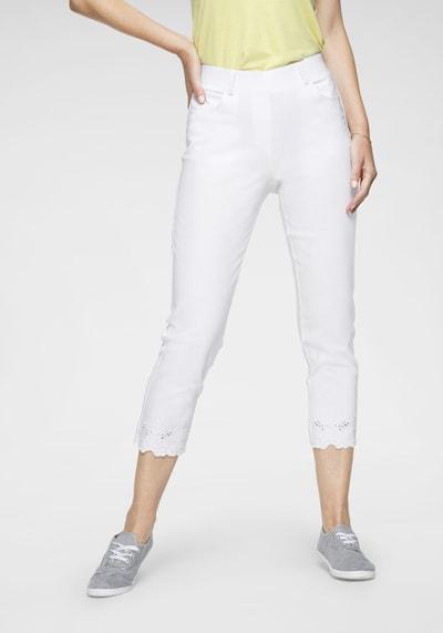 Navigazione Stretch-Hose mit Stickerei in weiß, Modelansicht