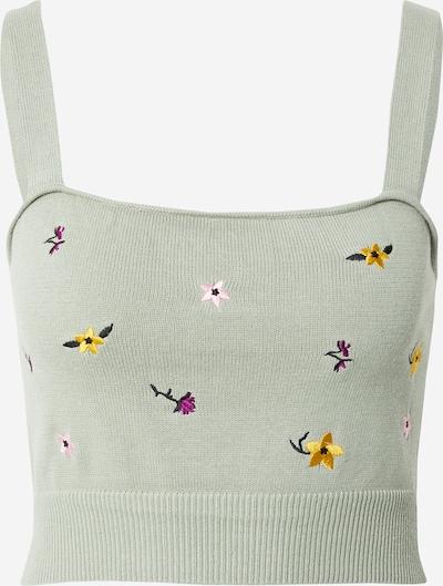 Cotton On Tops en tricot 'WILDFLOWER' en jaune / vert pastel / violet / rose / noir, Vue avec produit