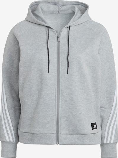 ADIDAS PERFORMANCE Sudadera con cremallera deportiva en gris moteado / blanco, Vista del producto