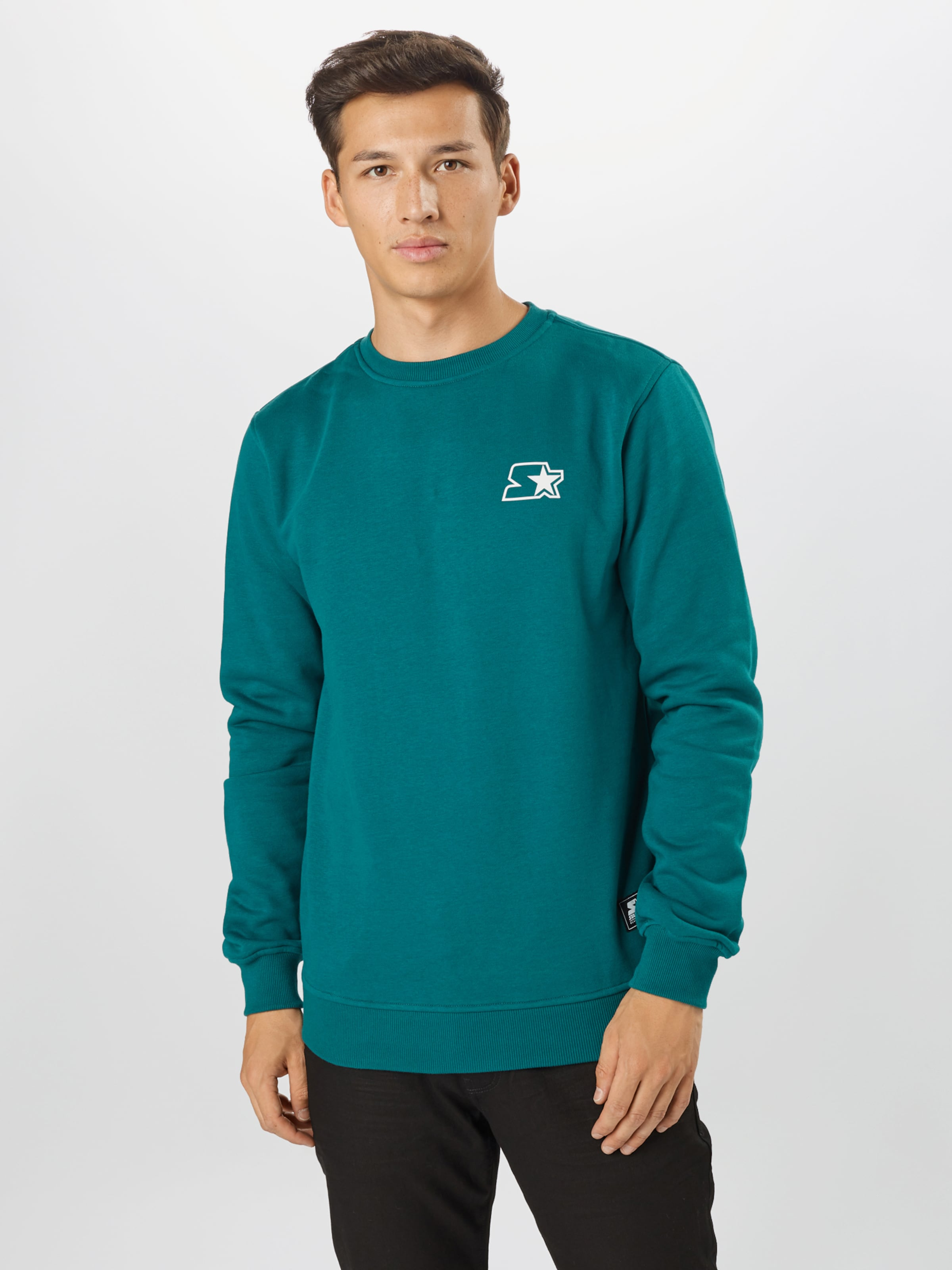 Starter Black Label Sweatshirt in petrol / weiß Unifarben SBL0025003000001