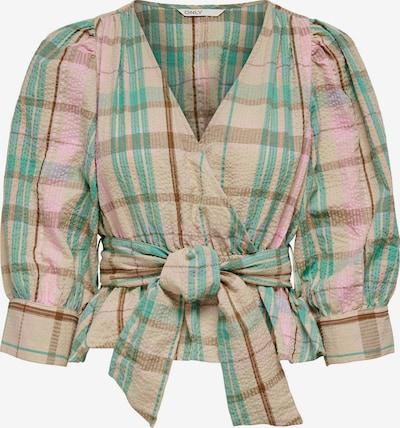 Bluză 'Nord' ONLY pe maro cămilă / maro închis / verde jad / roz deschis, Vizualizare produs