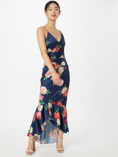 Chi Chi London Kleid in navy / jade / puder / rot / melone, Modelansicht