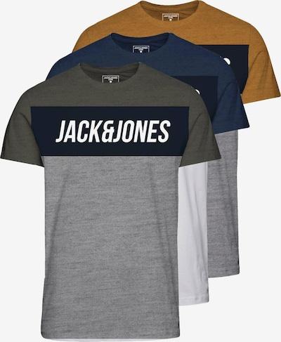 Jack & Jones Junior T-Shirt 'Temp' en bleu marine / jaune / gris chiné / kaki / blanc, Vue avec produit