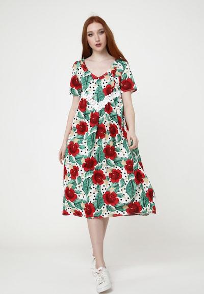 Madam-T Sommerkleid Kleid Air in mischfarben / weiß, Modelansicht