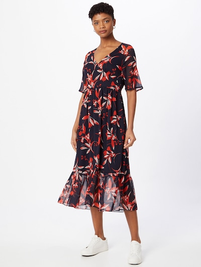 FRENCH CONNECTION Kleid in nachtblau / feuerrot / weiß, Modelansicht
