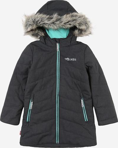 TROLLKIDS Outdoorjas 'Lifjell' in de kleur Donkergrijs / Grijs gemêleerd / Mintgroen, Productweergave