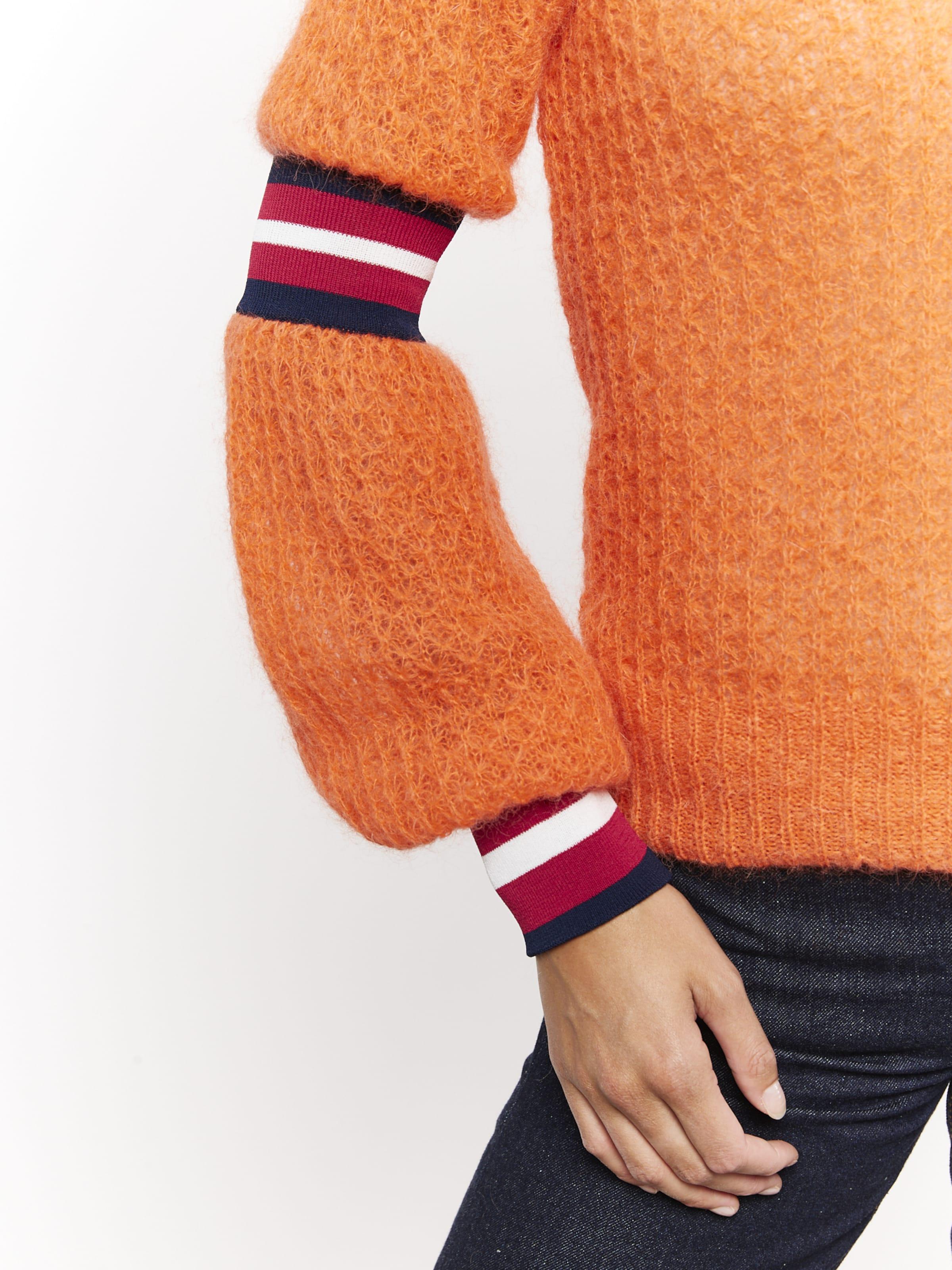 LOOKS by Wolfgang Joop Strickpullover ' mit Streifen ' in orange / rot / schwarz / weiß