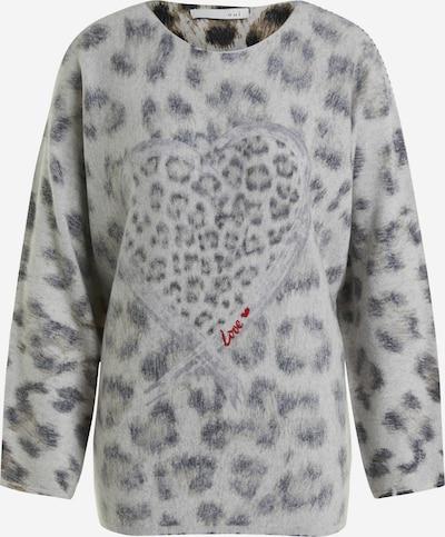 OUI Pullover mit Leodruck und Cashmere in grau, Produktansicht