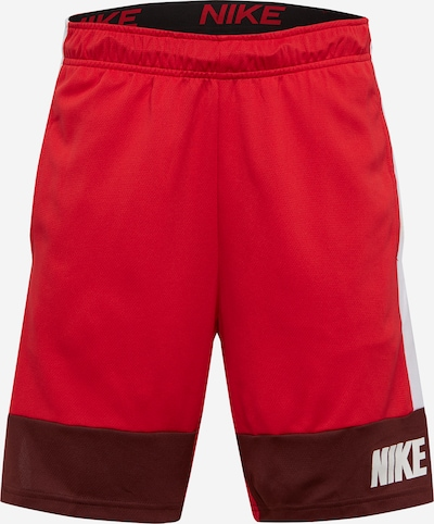 NIKE Športne hlače | rdeča / vinsko rdeča / bela barva, Prikaz izdelka