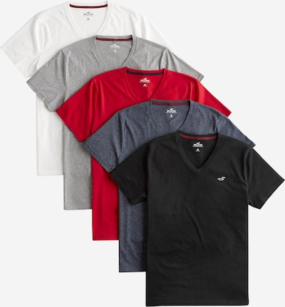 Marškinėliai iš HOLLISTER , spalva - mėlyna / pilka / raudona / juoda / balta: Vaizdas iš priekio