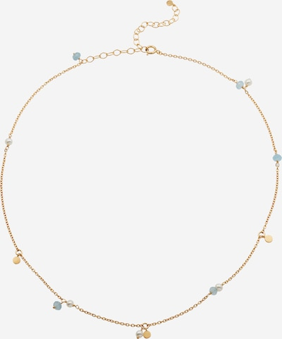 Pernille Corydon Jewellery Chaîne 'Afterglow Sea' en bleu clair / or / blanc perle, Vue avec produit