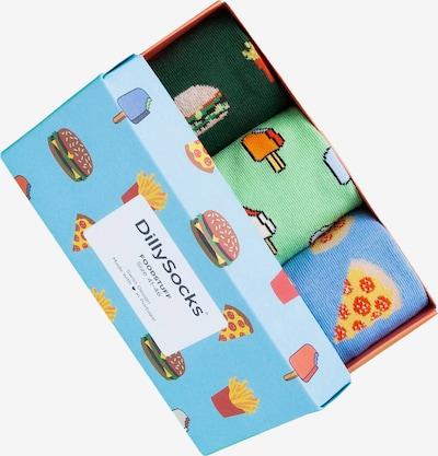 DillySocks Ponožky 'Foodstuff' - svetlomodrá / jedľová / svetlozelená / oranžová / ružová, Produkt