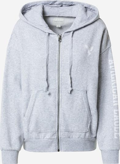 American Eagle Sweatjacke in graumeliert / weiß, Produktansicht