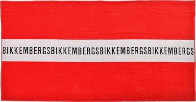 BIKKEMBERGS Strandtuch in hellrot / schwarz / weiß, Produktansicht