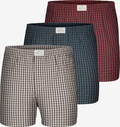 Lakeford & Sons Web Boxershorts ' 3-Pack 'Karos' ' in grau / petrol / rot, Produktansicht