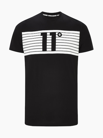 11 Degrees Shirt 'PLACEMENT STRIPE' in de kleur Zwart / Wit, Productweergave