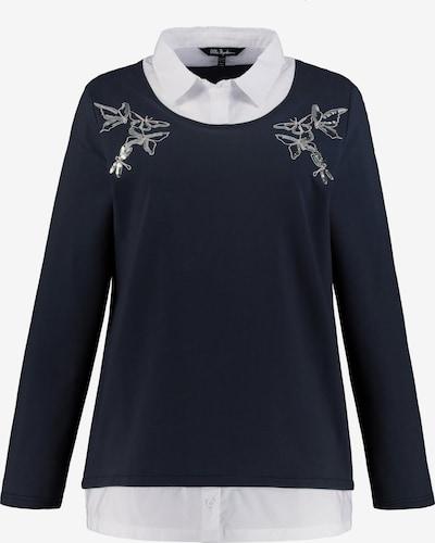 Ulla Popken Sweatshirt in nachtblau / pastellpink / weiß, Produktansicht