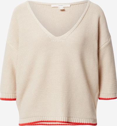 ESPRIT Pullover in hellbeige / koralle, Produktansicht