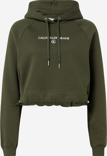 Megztinis be užsegimo iš Calvin Klein Jeans , spalva - rusvai žalia / balta, Prekių apžvalga
