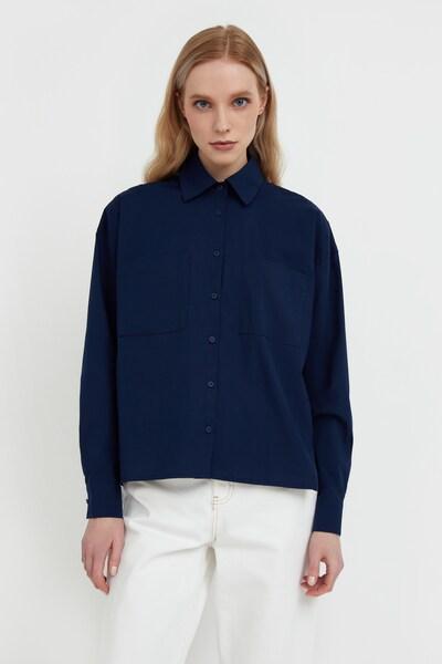 Finn Flare Hemdbluse in dunkelblau, Modelansicht