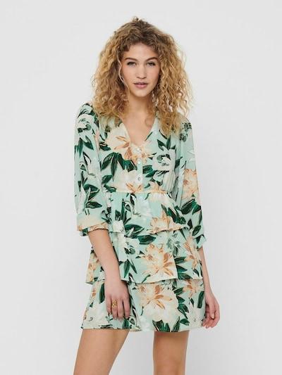 ONLY Robe en crème / turquoise / marron / vert / vert foncé / blanc, Vue avec modèle