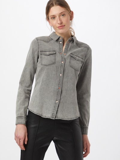 VERO MODA Bluse 'MARIA' in grey denim, Modelansicht
