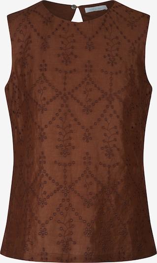 mint & mia Bluse mit Stickerei in gerader Form in braun, Produktansicht
