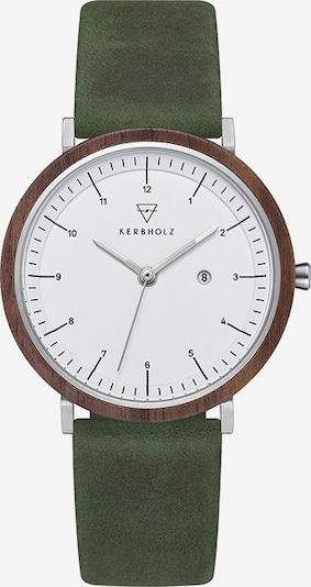 Kerbholz Uhr  'Amelie' in dunkelbraun / oliv / weiß: Frontalansicht