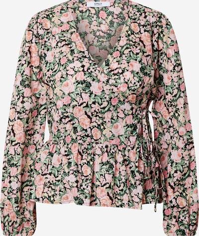 ONLY Bluse 'LAURA' in grün / pastellpink / schwarz, Produktansicht