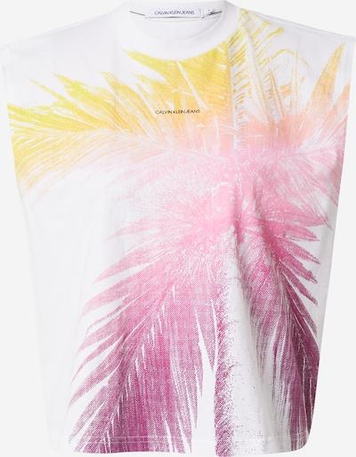 Calvin Klein Jeans Тениска в жълто / тъмнолилаво / розово / бяло, Преглед на продукта